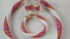 《Розовое настроение》 - украшение, комплект из бисера