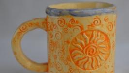 Кухлик, кружка, чашка керамічна велика ′Теплота′, майоліка.