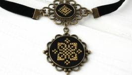 Черный чокер бархотка Вышитое черное желтое колье этническое украшение