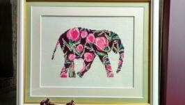 Картина ′Слон в тюльпанах′