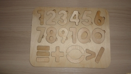 Деревянные пазлы. Цифры и знаки 24*18 см
