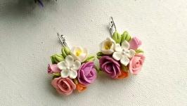 Серьги с букетом цветов