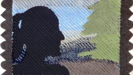 Панно портрет контур в технике синель хендмейд