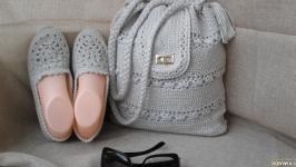 Вязаный комплект сумка и туфли  слипоны