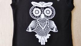 Вязаная аппликация ′Сова′ (декор одежды, подушек, настенный декор).