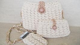 Вязаная сумка, клатч и чехол на телефон из трикотажной пряжи на лето.