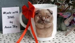Кружка с фигуркой кота (скотишфолд)