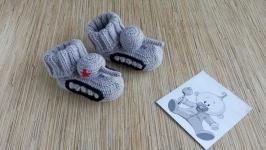 Вязаные пинетки, носочки Танки