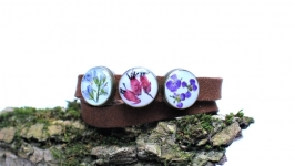 Двойной браслет  чокер с настоящими цветами