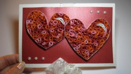 Открытка-конверт с сердцами