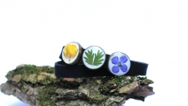 Двойной браслет и чокер с настоящими цветами
