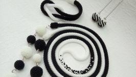 Черно-белый комплект - украшение, жгут из бисера