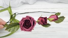 Венок на голову с розами бордовыми