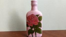 Бутылка ручной работы ′Розовые розы′
