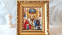 Икона Св.Николая Чудотворца. 19 цветов чешского бисера.