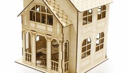 Домик для куклы с мебелью С колонами