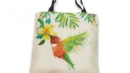 Сумка летняя из ткани Птица - колибри