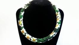 Ожерелье нарцисс Ювелирные изделия ручной работы из бисера Вечернее колье
