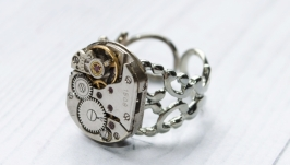 Кольцо Механизм в стиле Стимпанк