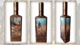 Декор бутылки Одинокий охотник Охотничьи сувениры Подарок мужчине охотнику