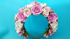 обруч и браслет из розово белых роз