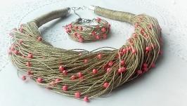 Эко-колье на шею и браслет из натуральной льняной нити, и бусин ручной рабо