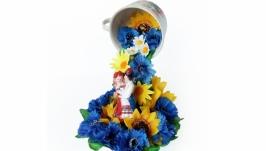 Топиарий парящая чашка Квітуча Україна Оригинальный украинский сувенир