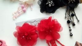 Серьги-цветы с хрустальными бусинами