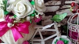 Интерьерная композиция велосипед с цветами