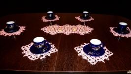 Комплект кружевных салфеток для сервировки стола