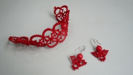 Маленькие ажурные красные серьги и браслет ′Ангелина′