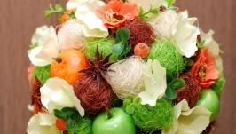 Яркий фруктовый топиарий из сизалевых шариков, мандарин