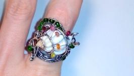 Серебряное кольцо ′Улитка′, Wire wrap, турмалин, сапфир, цаворит.