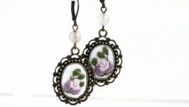 Серьги с розовым кварцем Сиреневые серьги с розами Нежные свадебные серьги