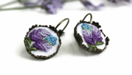 Маленькие летние сережки с лавандой Фиолетовые сиреневые серьги