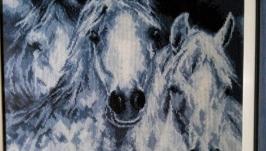 Вышитая картина Лошади