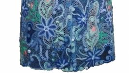 Кардиган ′Голубая мечта′. Ирландское кружево