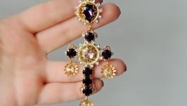 Серьги-кресты с кристаллами - MISS AMETHYST