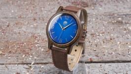 Деревянные часы из индийского сандала на коричневом кожаном ремешке