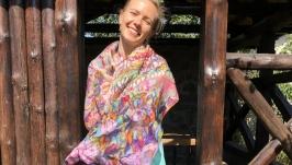 Шелковый шарф ′Флора, фауна′ 180*45