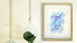 Картина акварель ′Любящие Киты′
