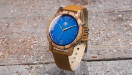 Часы деревянные мужские на кожаном ремешке песочного цвета
