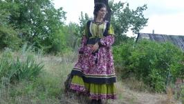 Платье c подъюбником в народном стиле Барышня-крестьянка