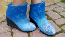 Ботиночки на платформе из шерсти