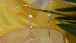 Серебряные серьги с белым и розовым жемчугом ′Николь′