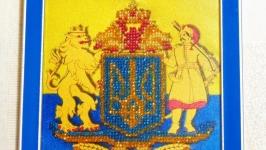 Герб Украины, вышитый бисером