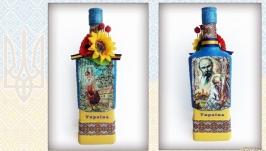 Интерьерная бутылка в украинском стиле Украинский сувенир