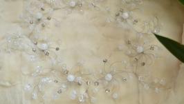 Свадебный ободок, веточка из горного хрусталя и снежного кварца ′Галактика′