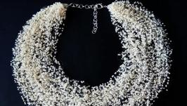 Бежевое воздушное колье Теленое ожерелье купить