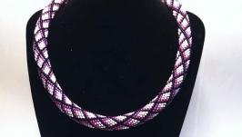Жгут Фиолетовое ожерелье Ручная работа из бисера Вечернее ожерелье Подарок